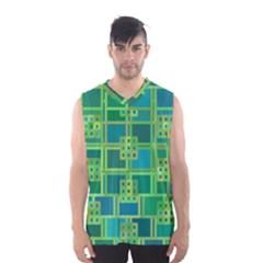 Green Abstract Geometric Men s Basketball Tank Top