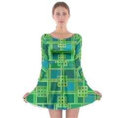 Green Abstract Geometric Long Sleeve Skater Dress