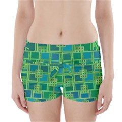 Green Abstract Geometric Boyleg Bikini Wrap Bottoms