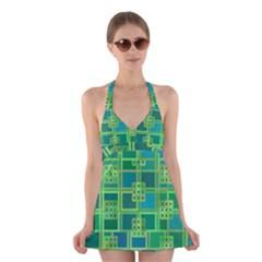 Green Abstract Geometric Halter Swimsuit Dress