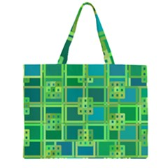 Green Abstract Geometric Large Tote Bag