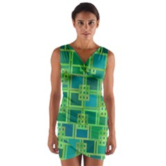 Green Abstract Geometric Wrap Front Bodycon Dress