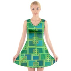 Green Abstract Geometric V Neck Sleeveless Skater Dress