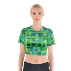 Green Abstract Geometric Cotton Crop Top