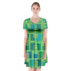 Green Abstract Geometric Short Sleeve V-neck Flare Dress