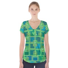Green Abstract Geometric Short Sleeve Front Detail Top