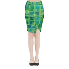 Green Abstract Geometric Midi Wrap Pencil Skirt