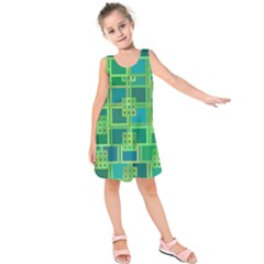 Green Abstract Geometric Kids  Sleeveless Dress