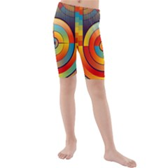 Abstract Pattern Background Kids  Mid Length Swim Shorts