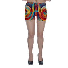 Abstract Pattern Background Skinny Shorts