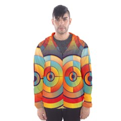 Abstract Pattern Background Hooded Wind Breaker (men)