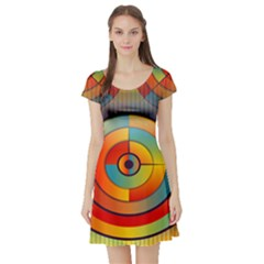 Abstract Pattern Background Short Sleeve Skater Dress