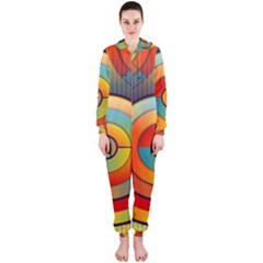 Abstract Pattern Background Hooded Jumpsuit (Ladies)