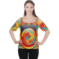 Abstract Pattern Background Women s Cutout Shoulder Tee