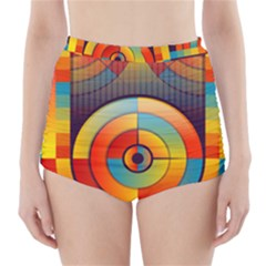 Abstract Pattern Background High Waisted Bikini Bottoms