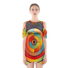 Abstract Pattern Background Shoulder Cutout One Piece