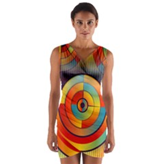 Abstract Pattern Background Wrap Front Bodycon Dress