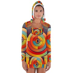 Abstract Pattern Background Women s Long Sleeve Hooded T-shirt