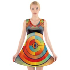 Abstract Pattern Background V Neck Sleeveless Skater Dress