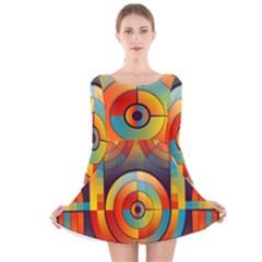 Abstract Pattern Background Long Sleeve Velvet Skater Dress