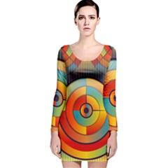 Abstract Pattern Background Long Sleeve Velvet Bodycon Dress