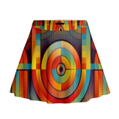 Abstract Pattern Background Mini Flare Skirt
