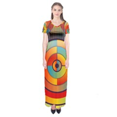 Abstract Pattern Background Short Sleeve Maxi Dress