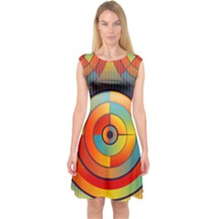 Abstract Pattern Background Capsleeve Midi Dress