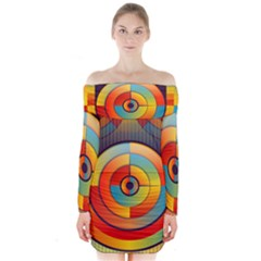 Abstract Pattern Background Long Sleeve Off Shoulder Dress