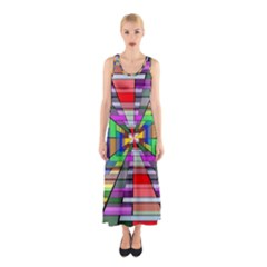 Art Vanishing Point Vortex 3d Sleeveless Maxi Dress