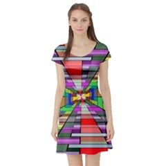 Art Vanishing Point Vortex 3d Short Sleeve Skater Dress