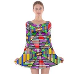Art Vanishing Point Vortex 3d Long Sleeve Skater Dress