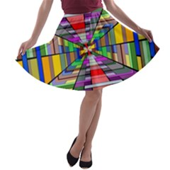 Art Vanishing Point Vortex 3d A-line Skater Skirt