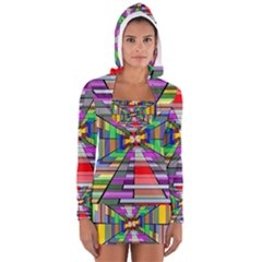 Art Vanishing Point Vortex 3d Women s Long Sleeve Hooded T-shirt