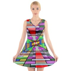 Art Vanishing Point Vortex 3d V-Neck Sleeveless Skater Dress