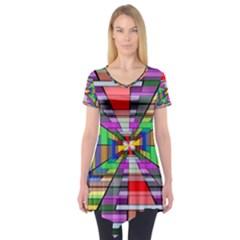 Art Vanishing Point Vortex 3d Short Sleeve Tunic