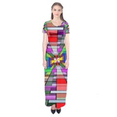 Art Vanishing Point Vortex 3d Short Sleeve Maxi Dress