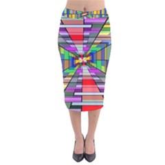 Art Vanishing Point Vortex 3d Velvet Midi Pencil Skirt