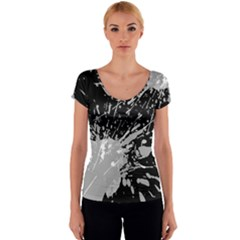 Art About Ball Abstract Colorful Women s V-Neck Cap Sleeve Top