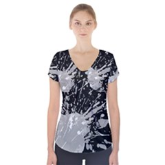 Art About Ball Abstract Colorful Short Sleeve Front Detail Top