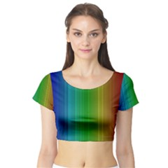 Spectrum Colours Colors Rainbow Short Sleeve Crop Top (tight Fit)