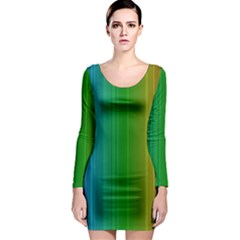 Spectrum Colours Colors Rainbow Long Sleeve Bodycon Dress