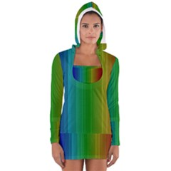 Spectrum Colours Colors Rainbow Women s Long Sleeve Hooded T-shirt