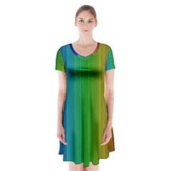 Spectrum Colours Colors Rainbow Short Sleeve V-neck Flare Dress