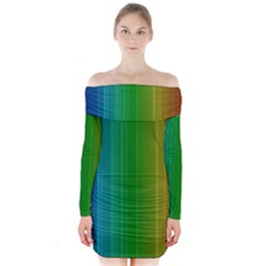 Spectrum Colours Colors Rainbow Long Sleeve Off Shoulder Dress