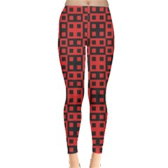 Abstract Background Red Black Leggings