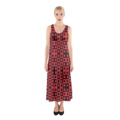 Abstract Background Red Black Sleeveless Maxi Dress