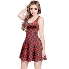 Abstract Background Red Black Reversible Sleeveless Dress