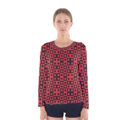Abstract Background Red Black Women s Long Sleeve Tee