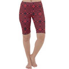 Abstract Background Red Black Cropped Leggings